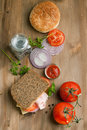Fresh Sandwich With Tomatoes, Onion And Ketchup Stock Image - 20501861