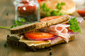 Fresh Sandwich With Ham And Tomato Royalty Free Stock Images - 20501939