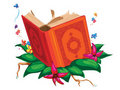 Book On Top Of Leaves Surrounded With Flowers Royalty Free Stock Image - 20522426