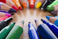 Set From Multicolored  Pencils, Pens, Markers. Royalty Free Stock Photography - 20533277