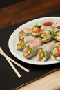 Plate Of Shrimp Spring Rolls And Sauce Royalty Free Stock Photos - 20539598