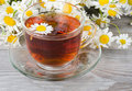 Glass Cup With A Camomile Tea Royalty Free Stock Photo - 20561325