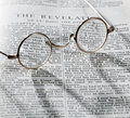 Antique Reading Glasses On Page Of Bible Royalty Free Stock Images - 20580289