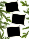 Retro Photo Framework And Christmas Tree Royalty Free Stock Photo - 20591505