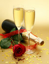 Champagne And Rose Royalty Free Stock Images - 20608939