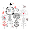 Flower Card With Birds Royalty Free Stock Photo - 20613245