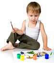 3 Year Old Boy Covered In Bright Paint Royalty Free Stock Images - 20662839