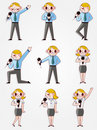 Set Of Funny Cartoon Office Worker Talk With Micro Stock Photos - 20694063