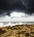 Rocks, Sea And Sky Before Storm Royalty Free Stock Image - 20736656