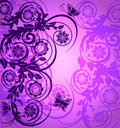 Purple Floral Ornament With Butterfly Stock Photography - 20765222