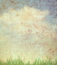 Grass And Sky On Paper Texture Stock Images - 20774424