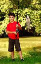 A Boy Catching A Fish Stock Photography - 20854482