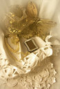 Golden Butterfly On Lace Stock Image - 20870651