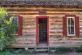 Rustic Old Time Log Cabin Front Door And Windows Royalty Free Stock Photography - 20879477