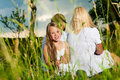 Happy Family Sitting In Meadow Stock Images - 20883524