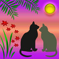 Cats In The Garden Royalty Free Stock Image - 2096386
