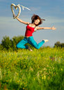 Woman Running On A Sunset Field Royalty Free Stock Photo - 20907835