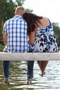 Couple On Lake Pier Royalty Free Stock Image - 20937206