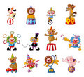 Cartoon Happy Circus Show Icons Collection Royalty Free Stock Photography - 20973917