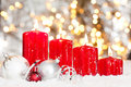 Christmas Background With Red Candles And Snow Stock Image - 20976071