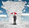 Businessman With Red Umbrella Under Documents Stock Photos - 21000513