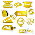 Collection Of  Golden Yellow Sale Tickets, Stamps Royalty Free Stock Photo - 21019935