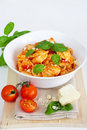 Pasta With Tomato And Basil Royalty Free Stock Photo - 21054095