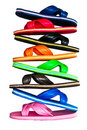 Side View Of Flip Flops With Isolated On White Stock Photography - 21083402