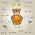 Baby Background With Funny Teddy Bear Royalty Free Stock Photo - 21110955