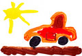Childish Red Toy Car And Sun. Watercolor. Stock Photography - 21126232