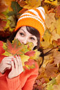 Young Woman In Autumn Orange Leaves. Stock Photography - 21129942