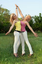 Two Happy Attractive Blonde In White Jeans Royalty Free Stock Photo - 21138465