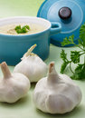 Garlic With Creamy Soup Royalty Free Stock Image - 21155806
