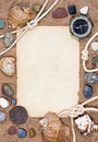 Old Paper, Sea Shells And Rope On Sand Background Stock Photo - 21194820