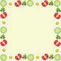 Beautiful Frame With Tomatoes, Egg, Cucumber, Leaf Royalty Free Stock Photography - 21202527