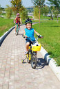 A Boy And  His Sister Cycling Stock Photo - 21216000