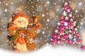 Christmas Cards, Snowman And Christmas Tree. Royalty Free Stock Images - 21223419