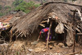 Poor Woman Cleaning Hut Stock Image - 21243501