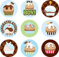 Illustrated Cupcake Circles For Boys Stock Photos - 21271453