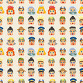 Cartoon People Job Face Seamless Pattern Royalty Free Stock Photo - 21271785