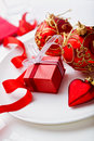Christmas Place Setting And A Little Present Royalty Free Stock Photo - 21272765