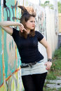 Punk Girl Walking Outdoor Royalty Free Stock Photography - 21299877