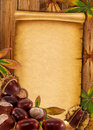 0ld Paper Background With Autumn Chestnuts Stock Images - 21348454