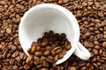 White Cup And Coffeebeans Stock Photography - 21352502