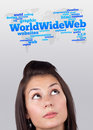 Young Girl Looking At Internet Type Of Icons Royalty Free Stock Photos - 21421118