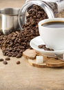Cup Of Coffee And Pot With Beans Royalty Free Stock Image - 21421986
