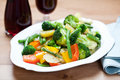 Stir-fried Mixed Vegetables On A Plate Royalty Free Stock Images - 21423769