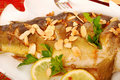 Carp Baked With Almonds On Christmas Table Royalty Free Stock Photos - 21446228