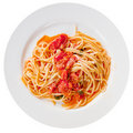 Spaghetti With Spicy Tomato Sauce On White Plate Royalty Free Stock Photography - 21481167