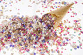 Ice Cream Cone With Confetti Stock Image - 21532551